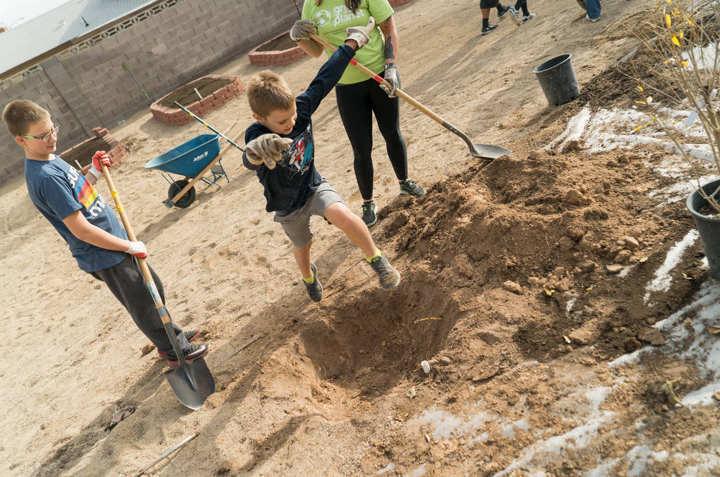 Students work on a garden at Harris Elementary School in December 2017. (Green Our Planet)