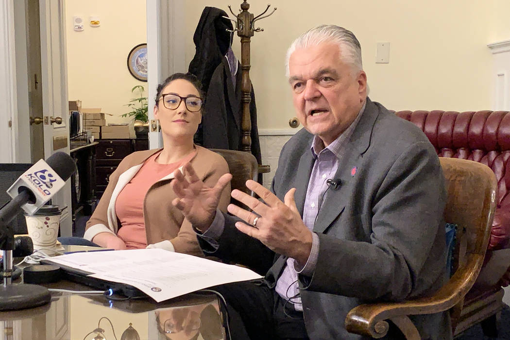 Gov. Steve Sisolak spoke to reporters in the governor's office Tuesday, June 4, 2019, following ...