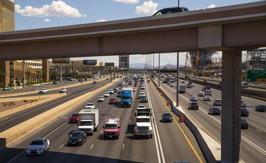 Much fewer vehicles travel in the HOV lane northbound on Interstate 15 about Tropicana Avenue a ...
