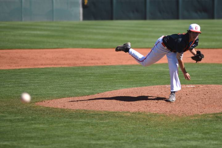 Bishop Gorman's Jack Little (11) pitches against Liberty high school during their baseball game ...