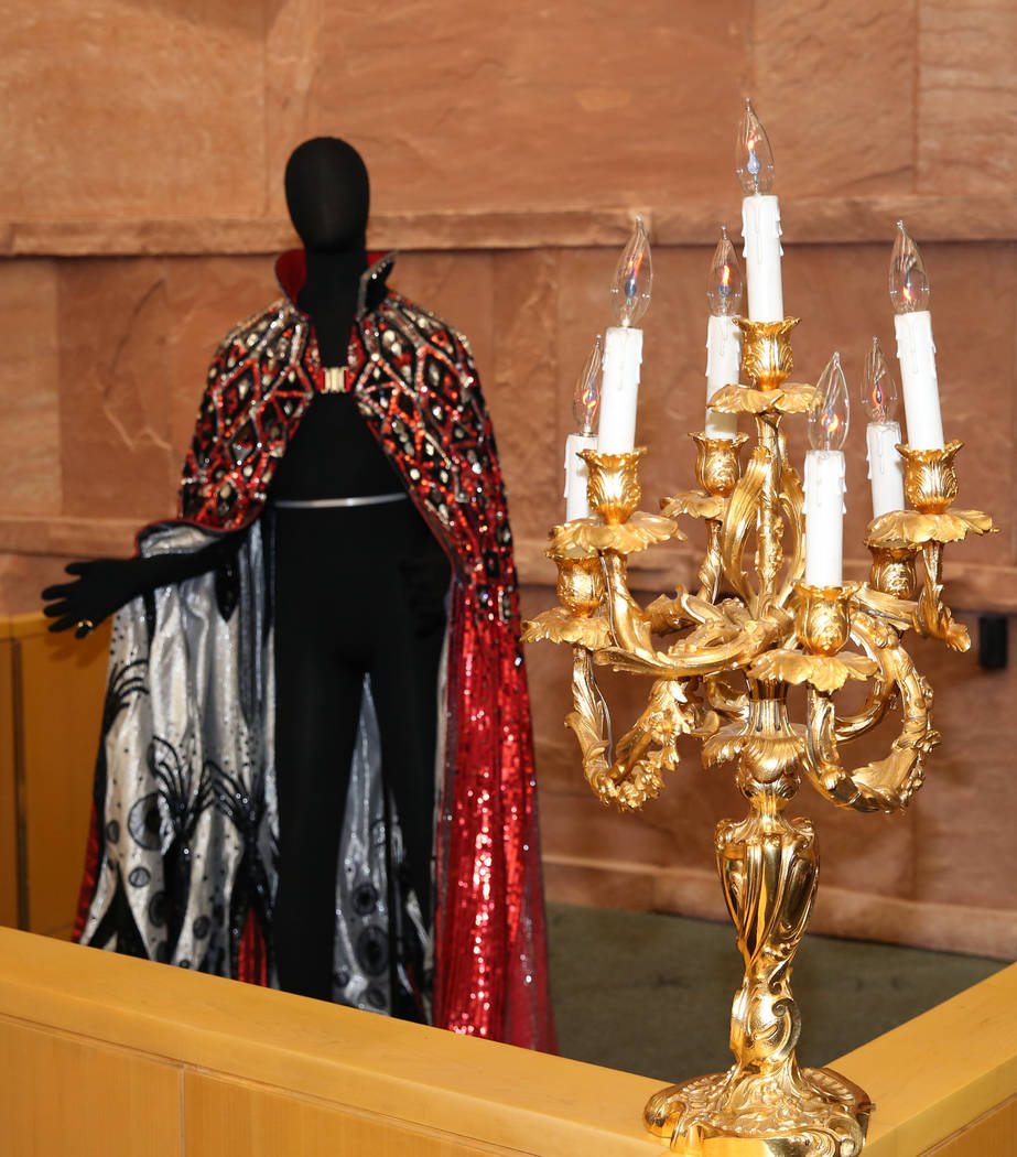 Liberace's outfit and candelabra are unveiled after the Clark County commissioners recognized L ...