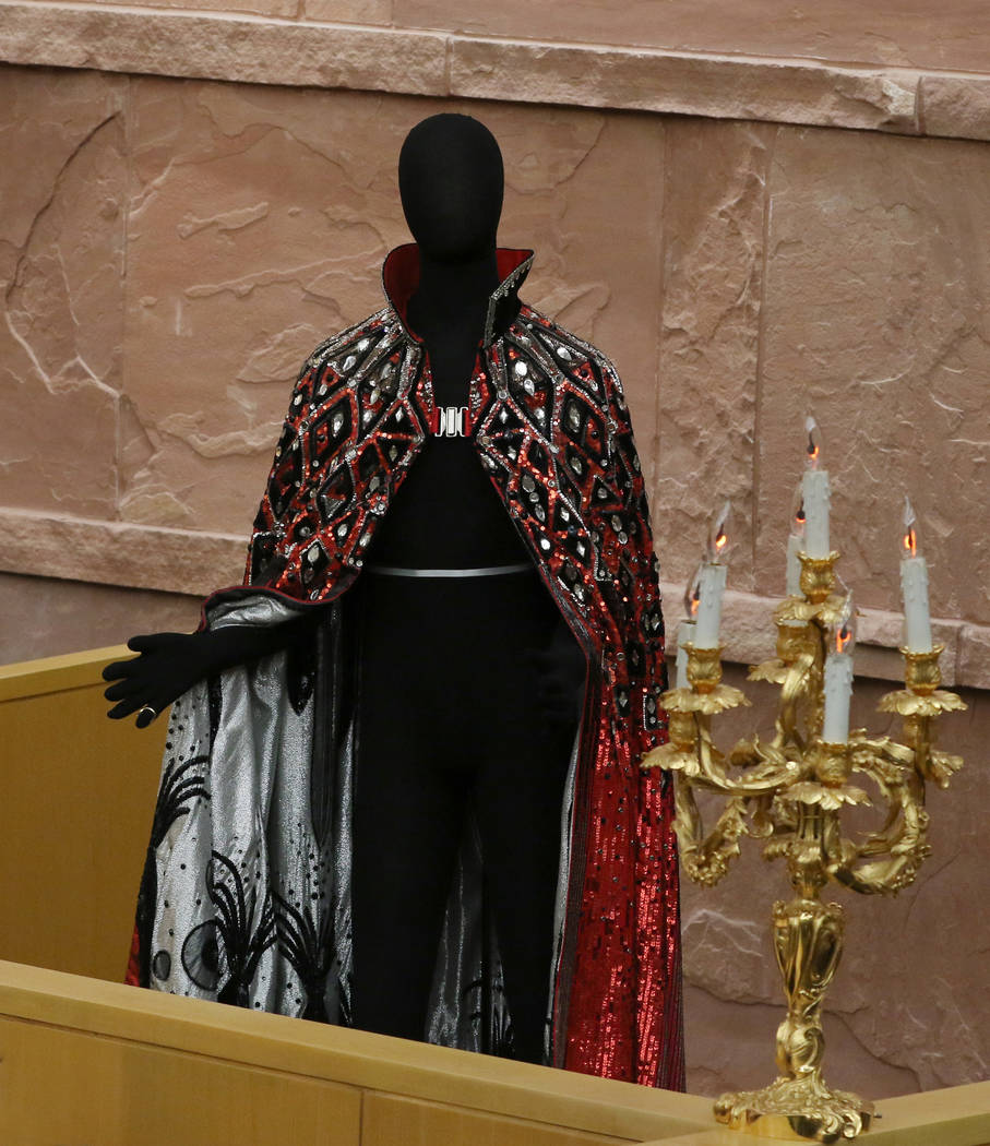 Liberace's outfit and candelabra are unveiled after the Clark County commissioners recognized ...
