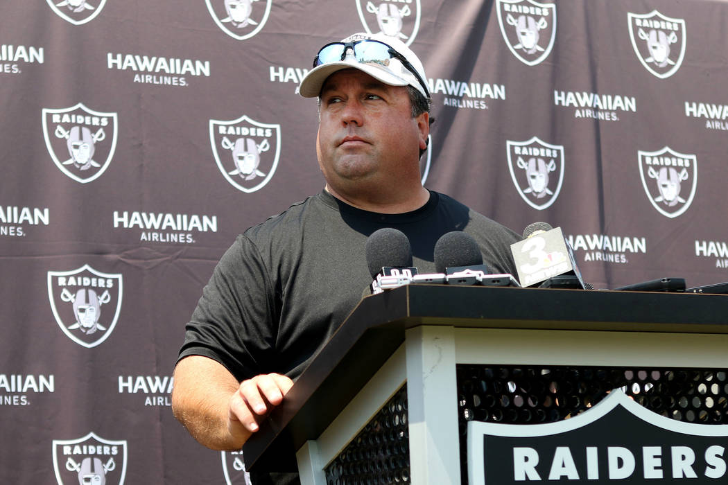 Oakland Raiders defensive coordinator Paul Guenther at the team's NFL training camp in Napa, Ca ...