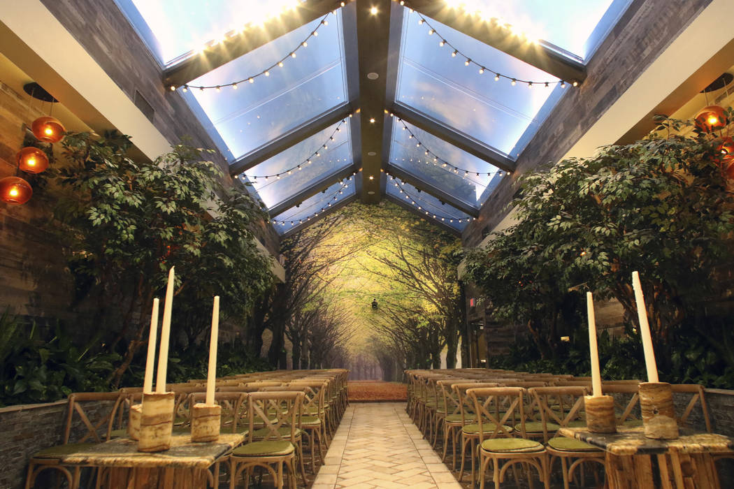 The Glass Gardens at Chapel of the Flowers, a wedding chapel on Las Vegas Boulevard, is photogr ...