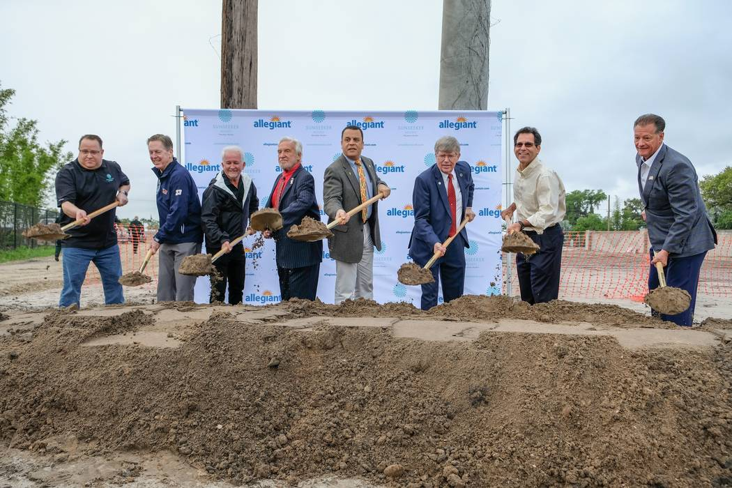 Las Vegas-based Allegiant Travel Co. held a ceremonial groundbreaking in March, seen here, for ...