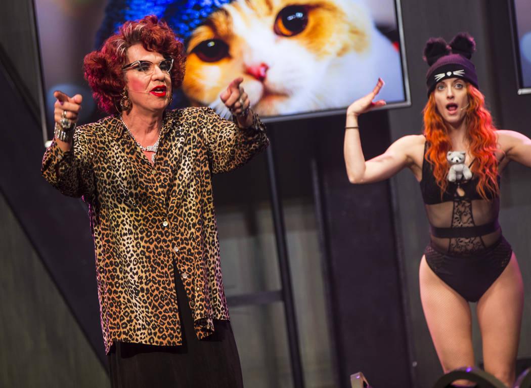 Michael Airington performs as Ester Goldberg, left, alongside Anne Martinez during a dress rehe ...
