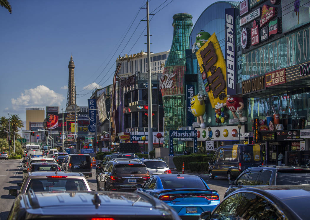 Traffic is backed up heading north on Las Vegas Boulevard on Wednesday, June 5, 2019, in Las V ...