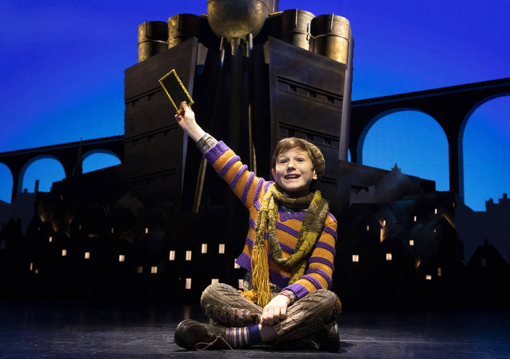 Collin Jeffery as Charlie Bucket. Roald Dahl's CHARLIE AND THE CHOCOLATE FACTORY. Photo by Jo ...