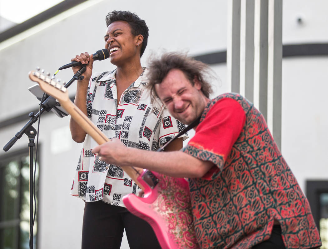 """Byana Hinton, left, performs with Dylan Meistrich during First Friday's """"Beat Street"""" ..."""