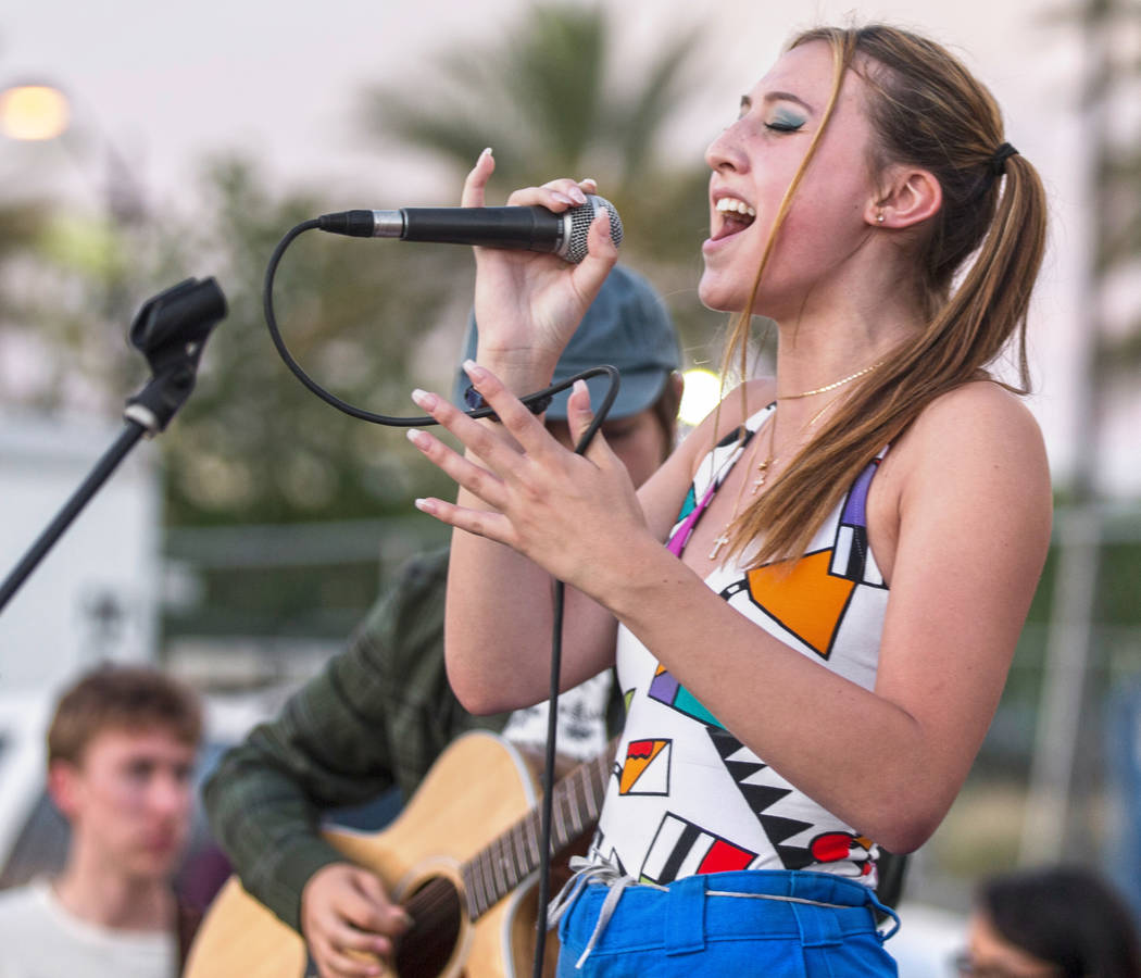 """Dori Judd performs with the School of Rock Las Vegas West during First Friday's """"Beat Stre ..."""