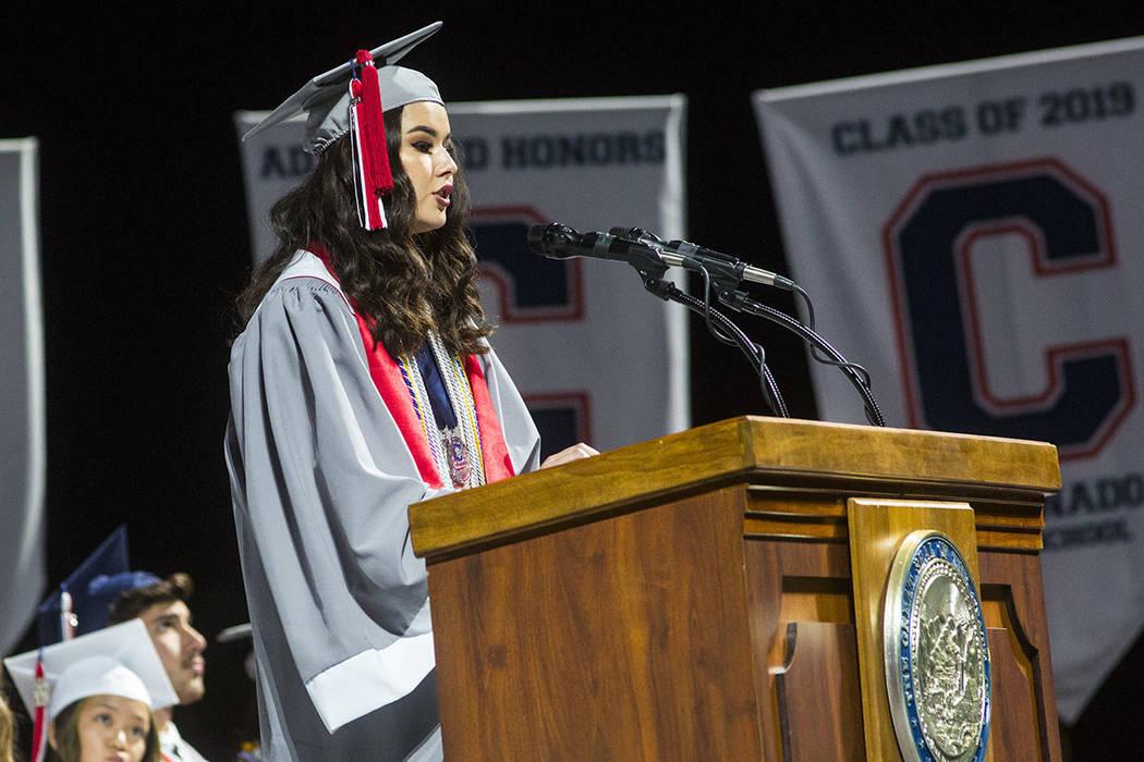 Graduating Coronado High School valedictorian Olivia Yamamoto speaks during the graduation cere ...