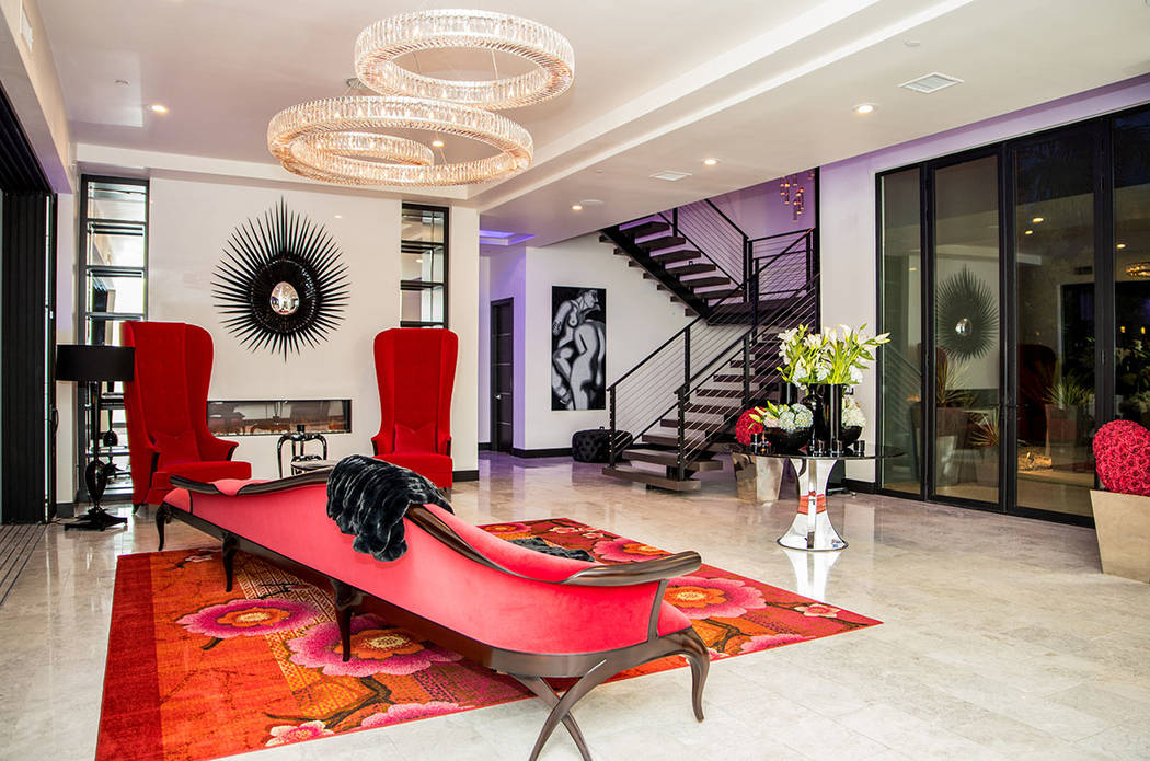 The entry features a unique red chase. (Tonya Harvey Real Estate Millions)