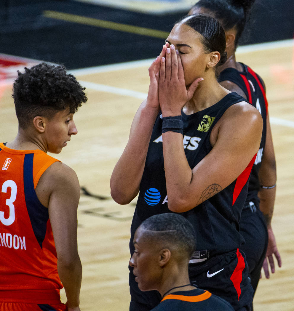 Las Vegas Aces center Liz Cambage (8) takes a moment at the foul line versus the Connecticut Su ...