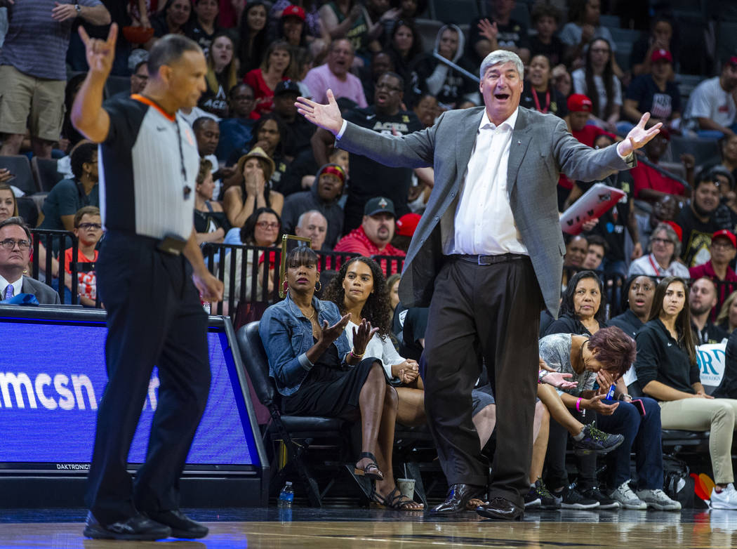 Las Vegas Aces head coach Bill Laimbeer is perplexed by the lack of another foul call during th ...