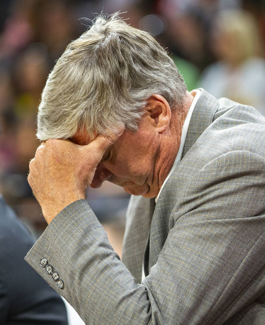 Las Vegas Aces head coach Bill Laimbeer is a bit frustrated during the first quarter of a WNBA ...