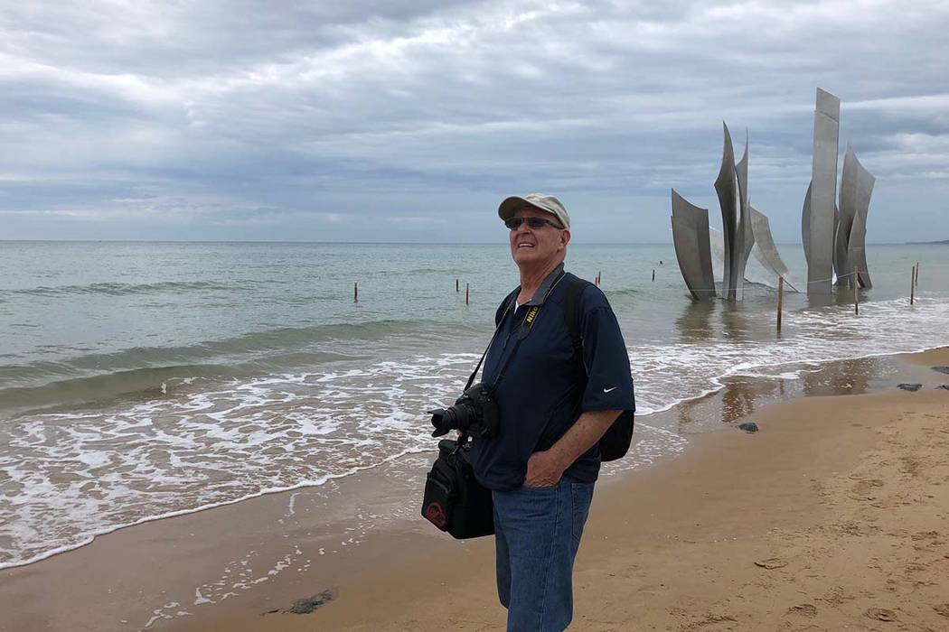 Barry Hartman on June 4, 2019, stands on Omaha Beach, Normandy, France, 75 years after his Army ...