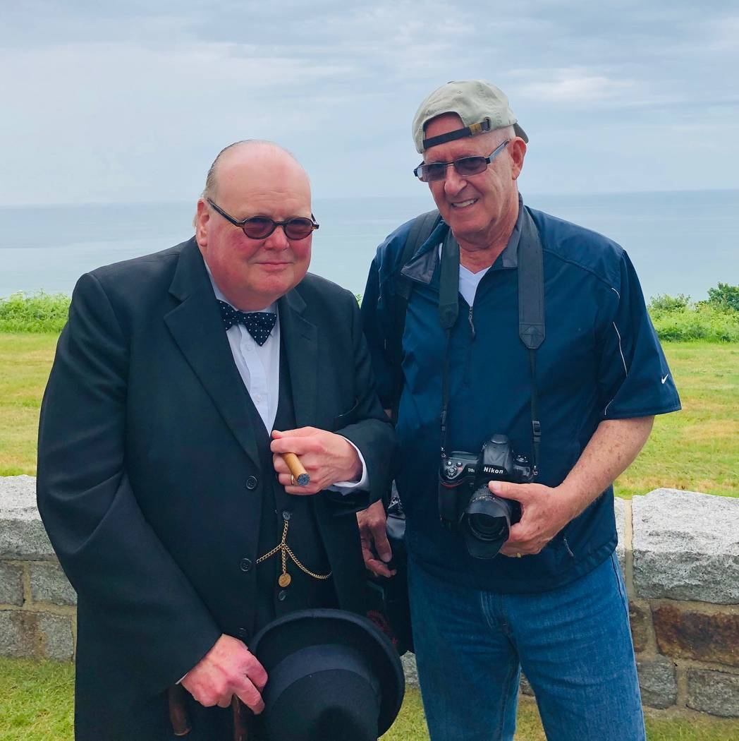 This June 4, 2019, photo provided by Barry Hartman shows Hartman and a Winston Churchill lookal ...