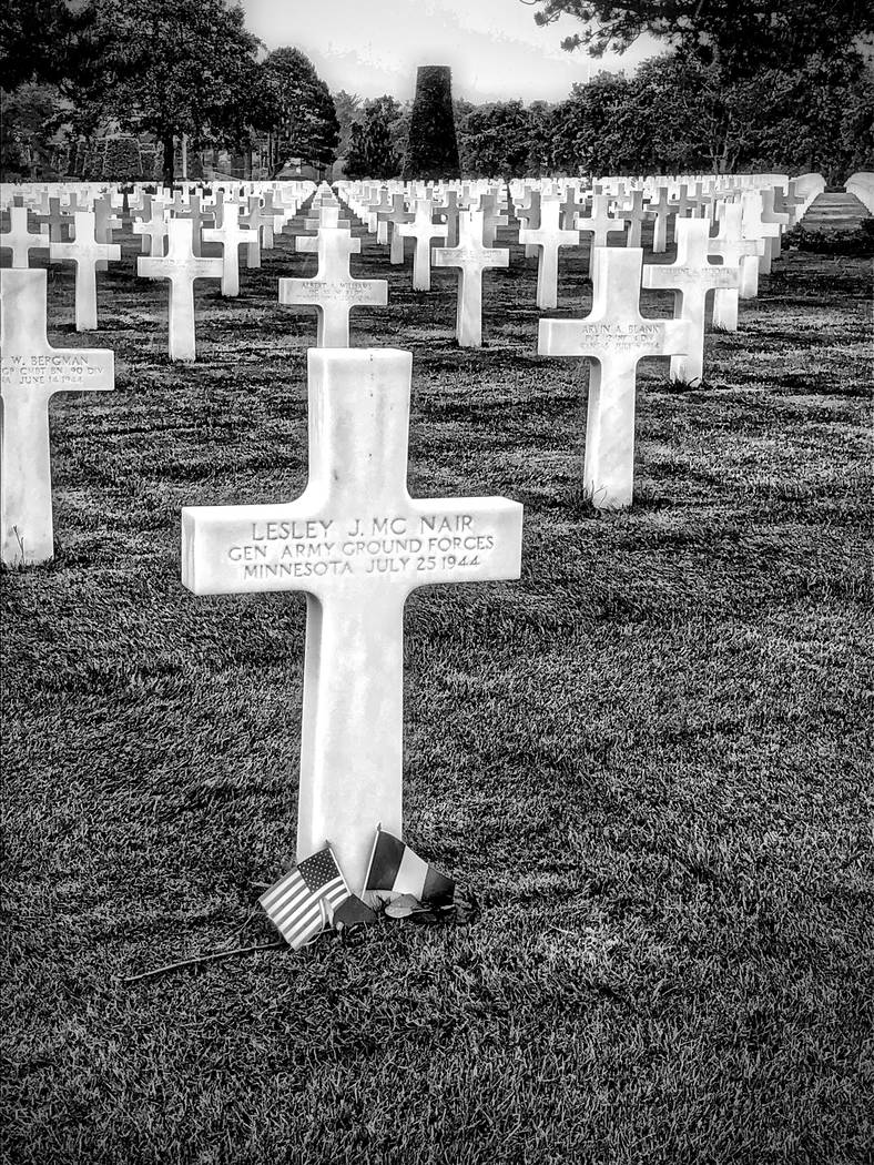 This June 4, 2019, photo provided by Barry Hartman shows the American Cemetery on Omaha Beach, ...
