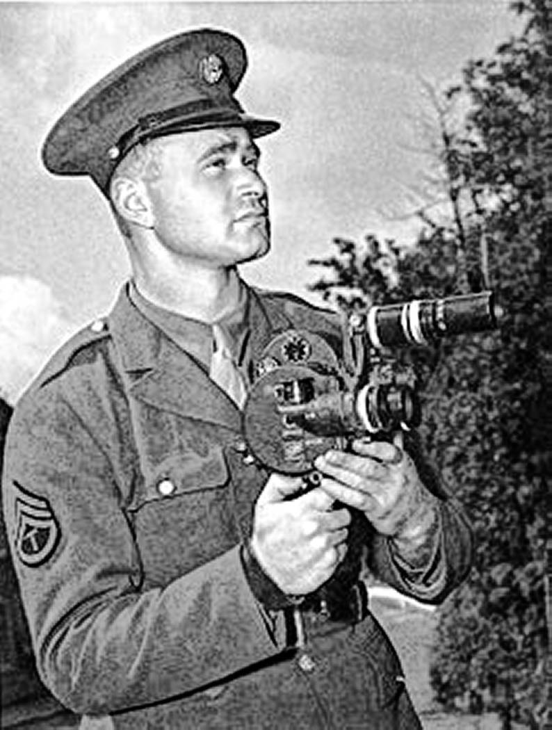 "Army soldier and photographer Burton ""Bud"" Hartman in 1942. Hartman is credited for being the f ..."