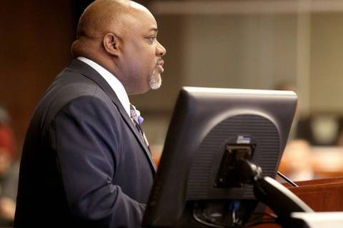 Speaker Jason Frierson, D-Las Vegas, presides during an Assembly floor session in the Legislati ...