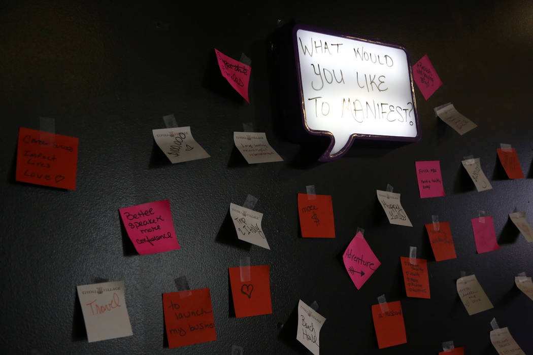 Written sticky notes left from attendees during the Manifest Summit at Tivoli Village in Las Ve ...