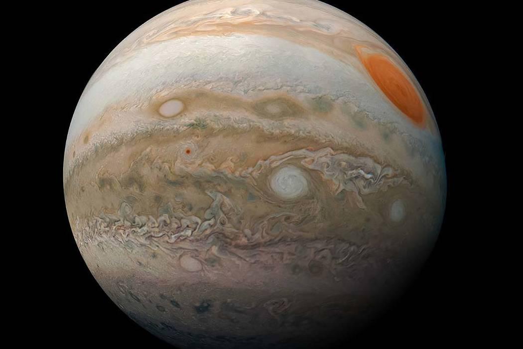 Jupiter's stormy southern hemisphere as viewed by NASA's Juno spacecraft, released March 22, 20 ...