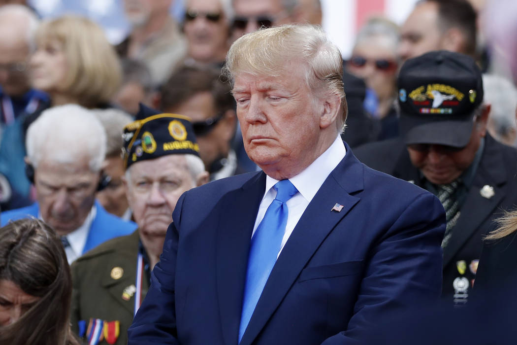 President Donald Trump participates in a ceremony to commemorate the 75th anniversary of D-Day ...