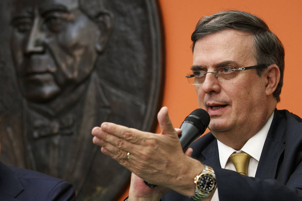Marcelo Ebrard, Mexico's Secretary of Foreign Affairs, gestures while speaking at the Embassy o ...