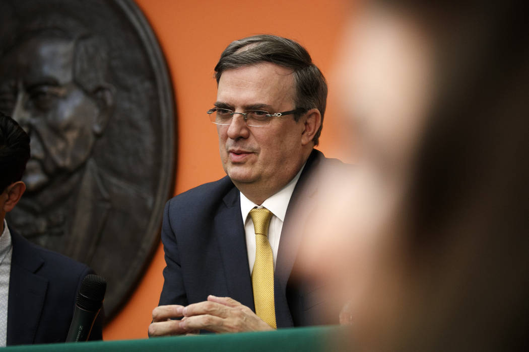 Marcelo Ebrard, Mexico's Secretary of Foreign Affairs, speaks during a news conference at the E ...
