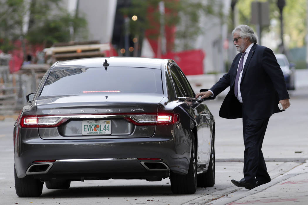 Carnival Corp. Chairman Micky Arison leaves federal court, Monday, June 3, 2019, in Miami. Carn ...