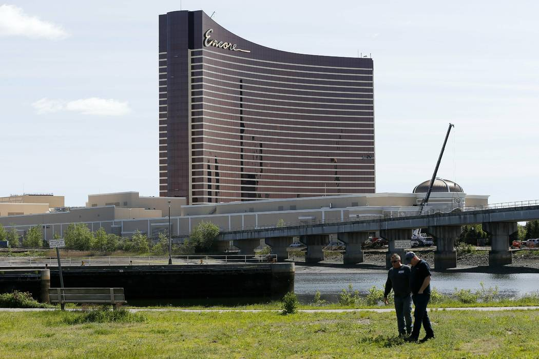 Encore Boston Harbor is seen from the banks of the Mystic River in Somerville, Mass., Wednesday ...