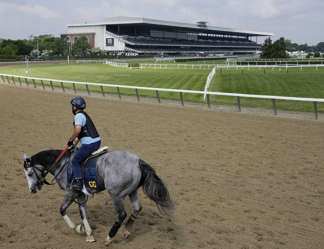 A rider works out a horse at Belmont Park in Elmont, N.Y., Thursday, June 6, 2019. The 151st Be ...