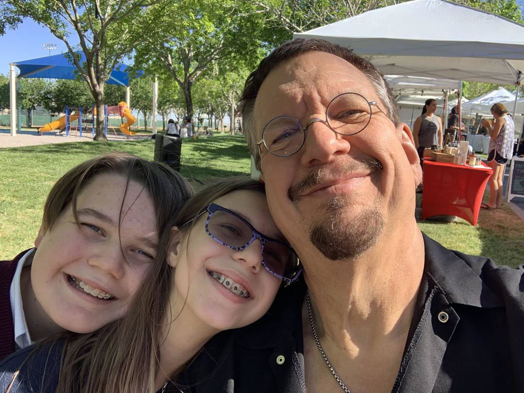 Penn Jillette with his son, Zolten, left, and daughter, Moxie CrimeFighter.