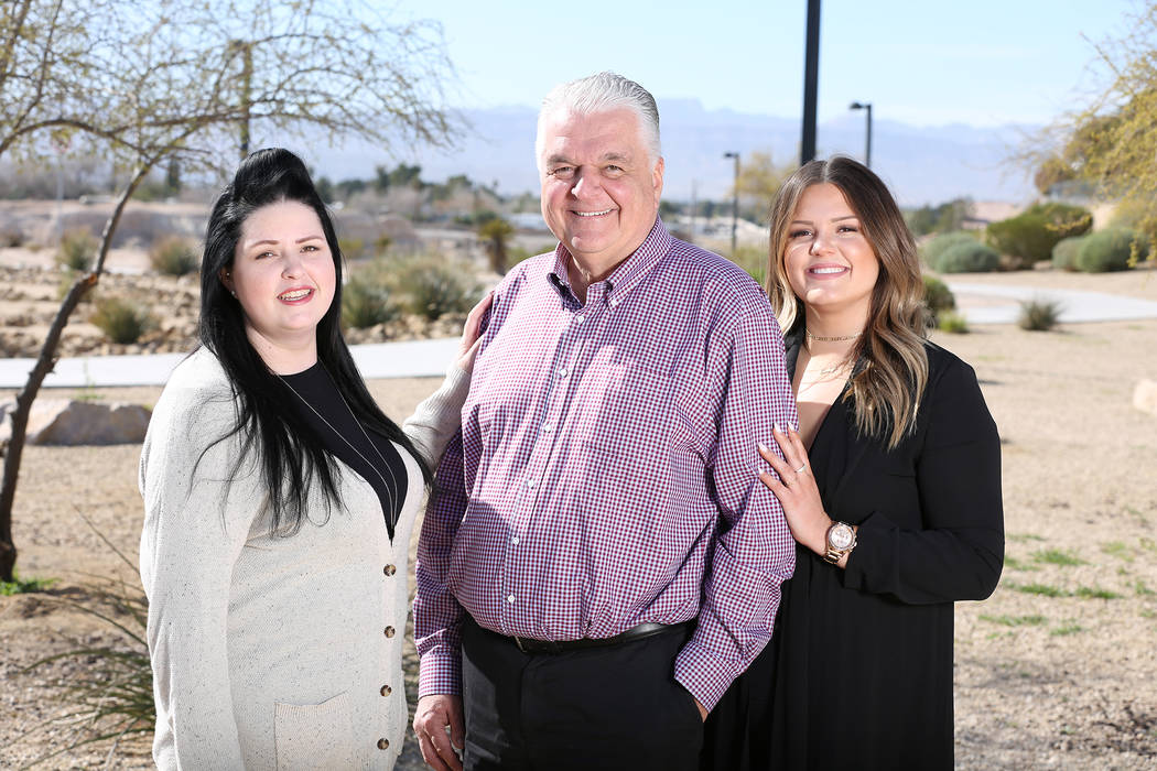Nevada Gov. Steve Sisolak with daughters Ashley, left, and Carley, right. (Photo courtesy Steve ...
