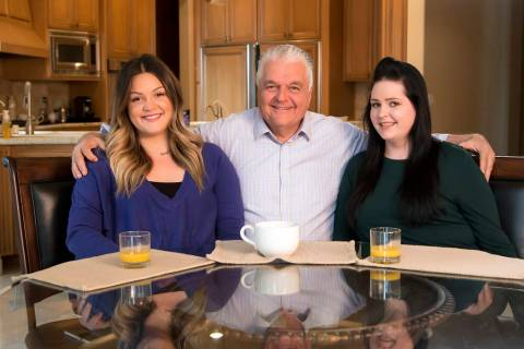 Nevada Gov. Steve Sisolak with daughters Carley, left, and Ashley, right. (Photo courtesy Steve ...