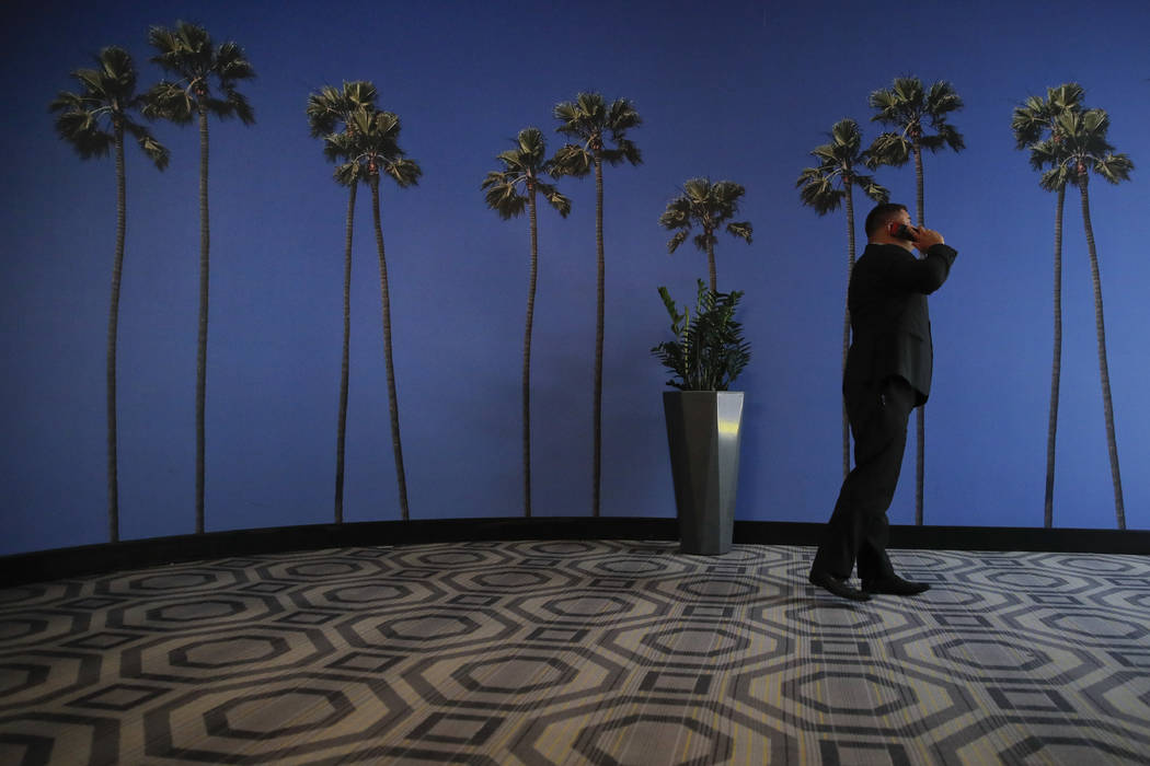 FILE - In this May 4, 2018, file photo a man talks on the phone in a hallway adorned with the p ...