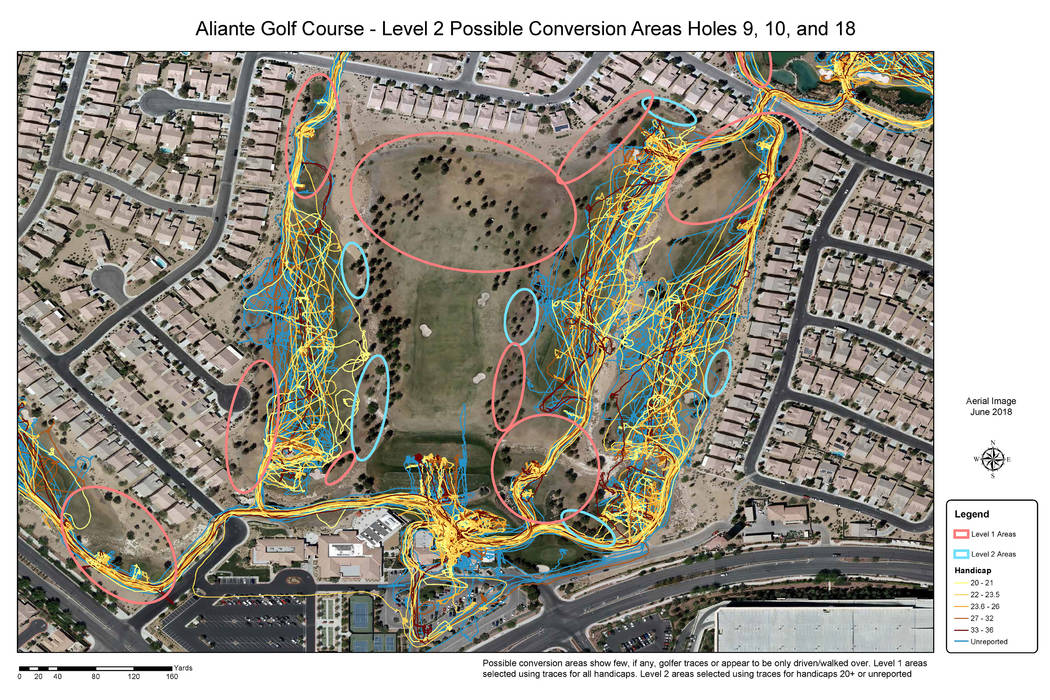 The GPS traces of golfers show up as colored lines on a map of the Aliante Golf Club in North L ...