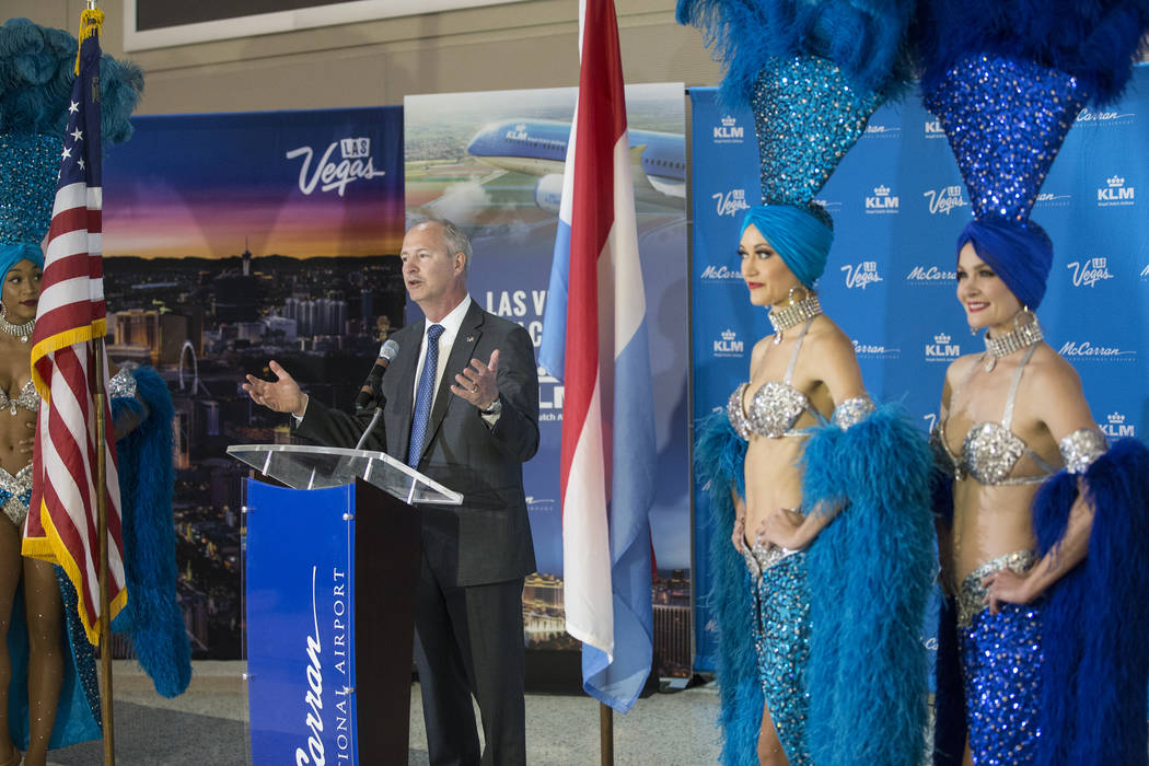 Steve Hill, President and CEO of Las Vegas Convention and Visitors Authority, address the crowd ...
