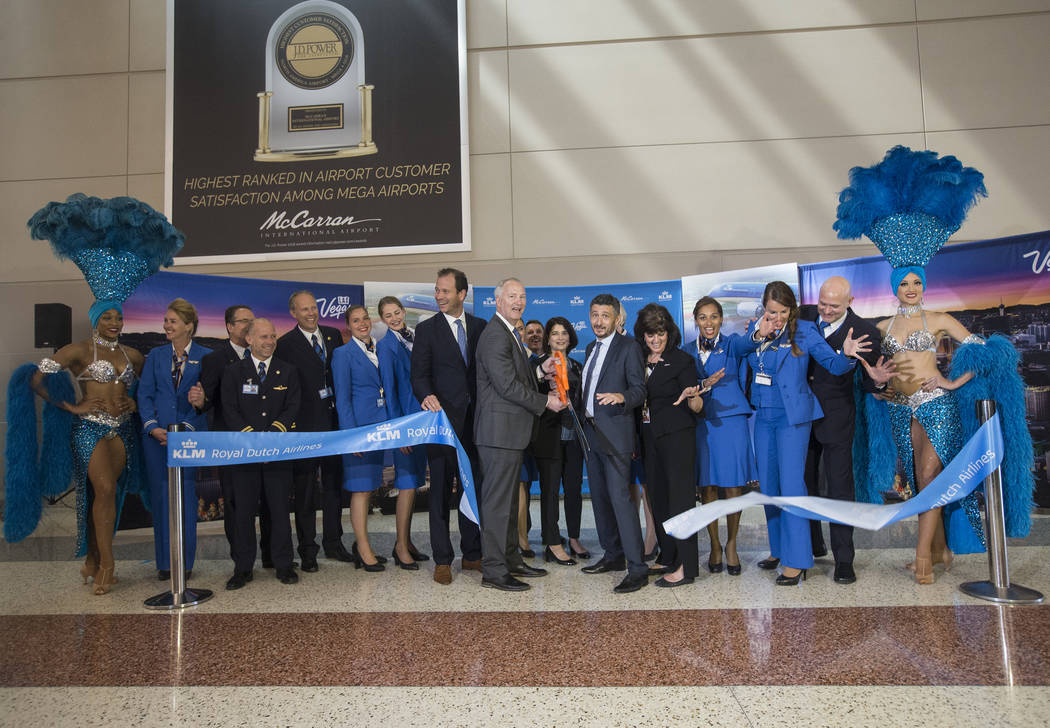 The ribbon is cut celebrating the first direct KLM Royal Dutch Airlines flight from Amsterdam t ...