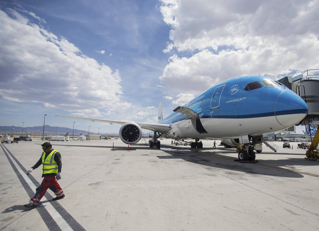KLM Royal Dutch Airlines flight 635 taxis to its gate at McCarran International Airport on Thur ...