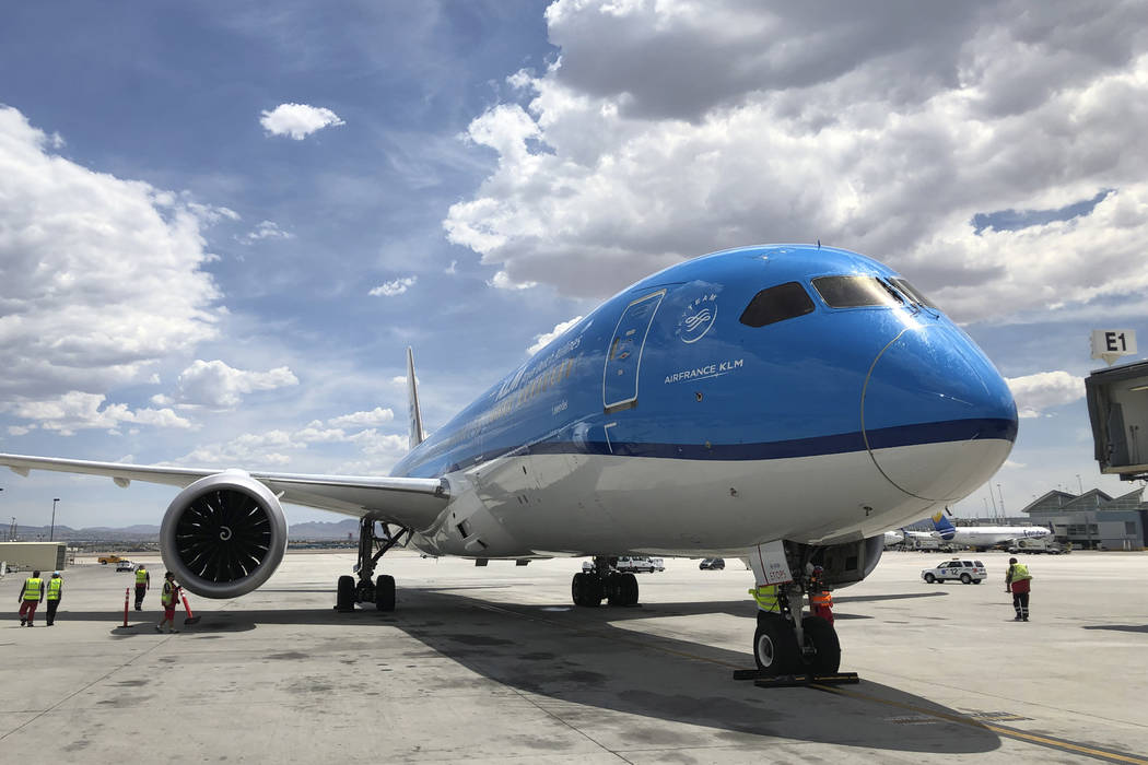 KLM Royal Dutch Airlines landed its first flight from Amsterdam to Las Vegas at McCarran Intern ...