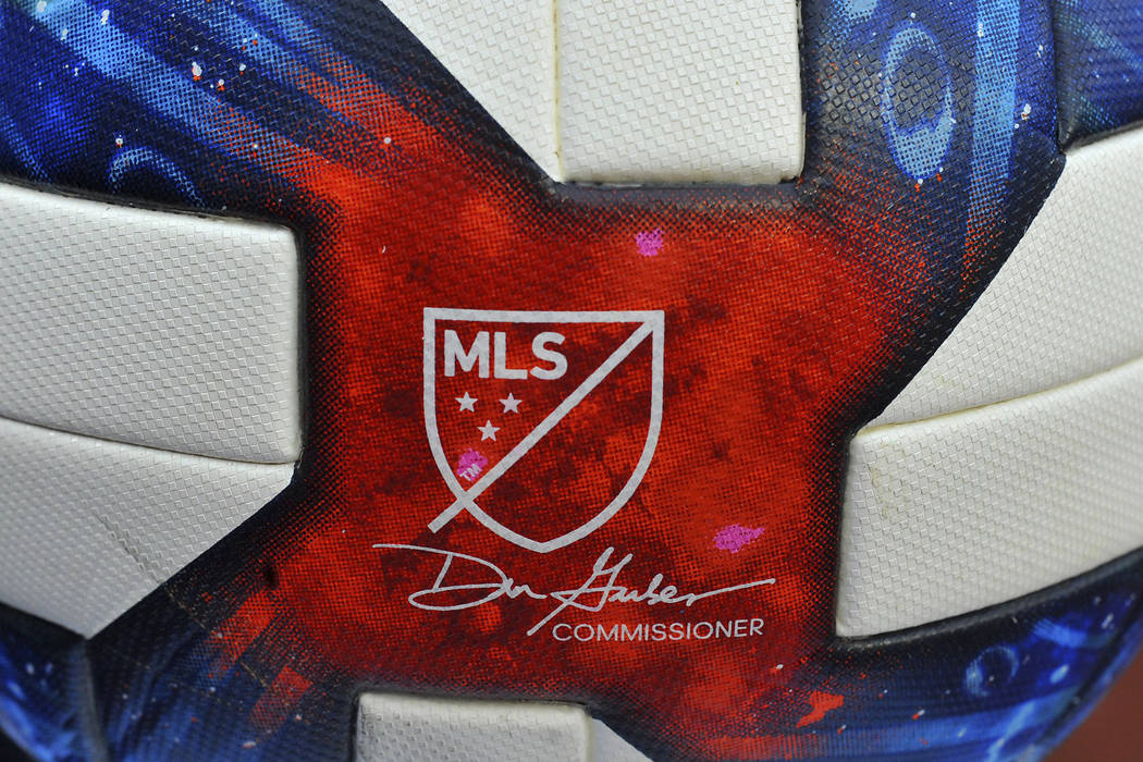 Detailed view of MLS logo on a soccer ball during an MLS soccer game between the New York City ...