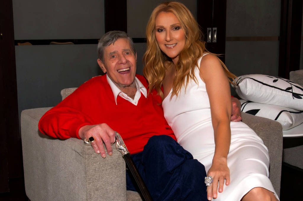 Jerry Lewis and Celine Dion backstage before her show Wednesday night at Caesars Palace. (Cashm ...