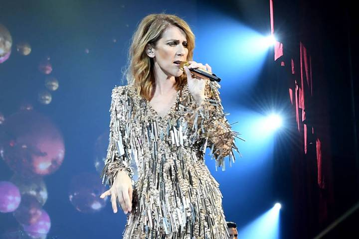 Celine Dion is shown during her show at the Colosseum at Caesars Palace on Tuesday, Sept. 19, 2 ...