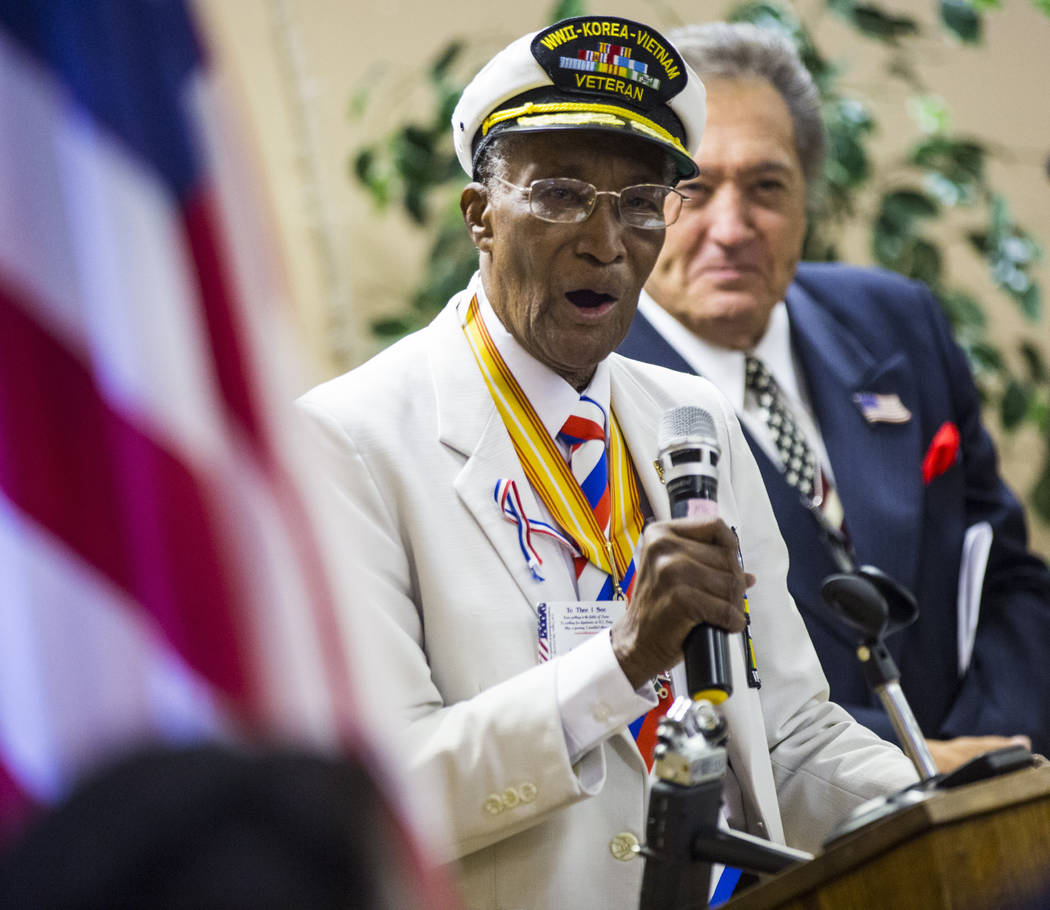 "World War II, Korea and Vietnam veteran Arby Hambric, 92, sings ""God Bless America"" d ..."