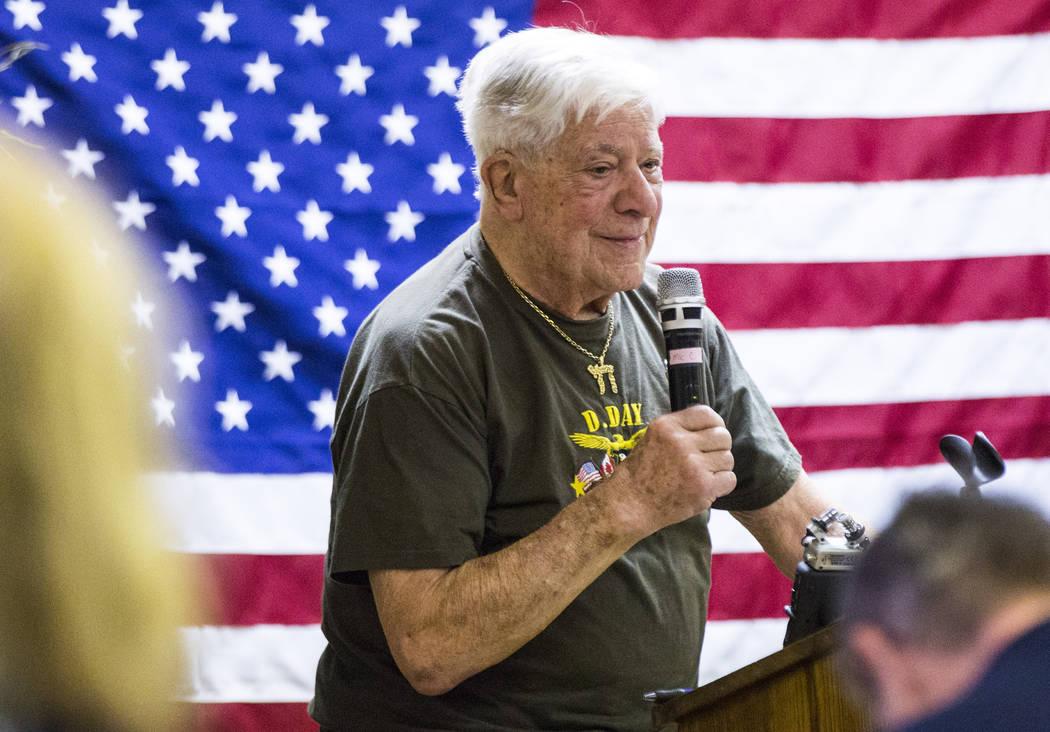 Auschwitz survivor Stephen Nasser speaks during a ceremony commemorating the 75th anniversary o ...