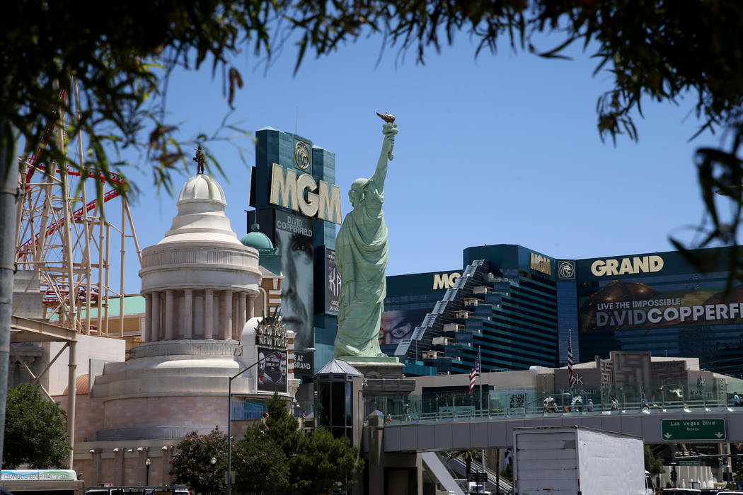 New York New York and MGM Grand on the Strip in Las Vegas Thursday, May 30, 2019. (K.M. Cannon/ ...