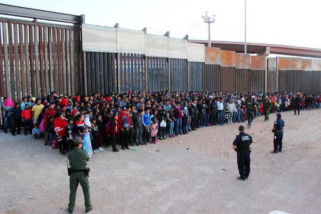 A May 29, 2019, photo released by U.S. Customs and Border Protection (CBP) shows some of 1,036 ...