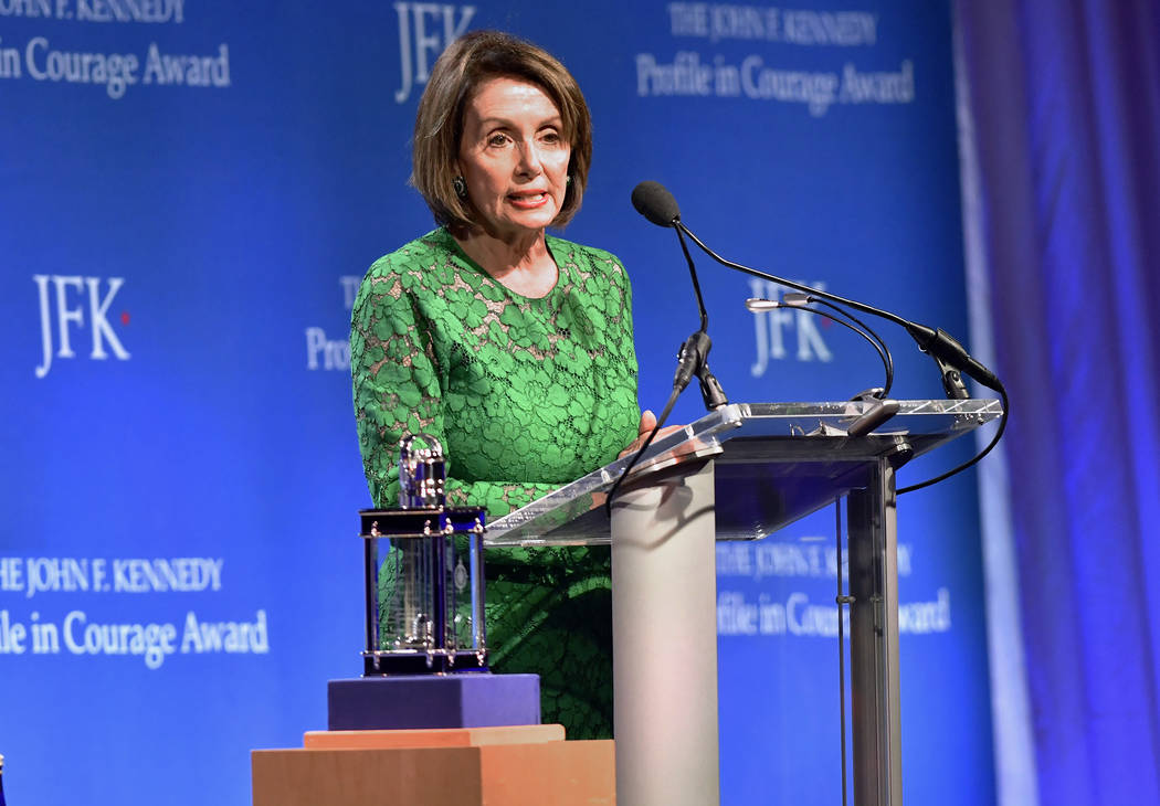 Speaker of the House Nancy Pelosi, D-Calif., speaks after she received the 2019 John F. Kennedy ...