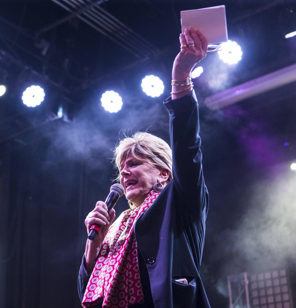 Las Vegas Mayor Carolyn Goodman speaks before a performance by Steve Aoki at the Fremont Street ...